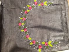 Whatsapp on 9496803123 for details and customisation.we do all types of handembroidery, appliqué work, cutwork, maggam work, bridal wear etc Embroidery On Kurtis, Hand Embroidery Dress, Kurti Embroidery Design, Embroidery On Clothes, Flower Embroidery Designs, Embroidery Fashion, Beaded Embroidery, Embroidery Patterns, Churidar Pattern