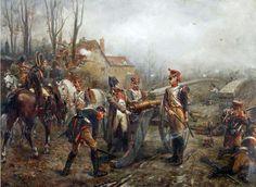 Napoleón en el puente de Montereau. artista Robert Alexander Hillingford. --- La Batalla de Montereau se libró cerca de Montereau-Fault-Yonne el 18 de febrero de 1814 y dio como resultado la victoria de los franceses bajo Napoleón Bonaparte contra los austriacos y los Württembergers bajo el rey de Württemberg