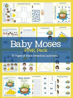 Baby Moses PreK Pack- 18 Pages of Free Printable Preschool Activities- Pre-writing activities, cutting and counting practice, lacing cards, and more