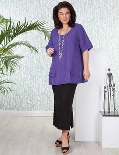 Plus size Troon purple top and black Sandford skirt
