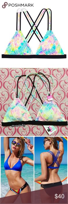 PINK Strappy Triangle Bikini Top ✨Available Size:  -SMALL AA-C -MEDIUM A-C ✨Color: Bright Watercolor / Pastel  Flaunt your edge on the poolside in this cute triangle cut with criss-cross straps.  Push & Lining: -Removable Padding -Lightly Lined   Straps & Hooks: -Adjustable back hook closure   Details & Fabric: -Criss-cross strappy back detailing -Imported nylon/spandex  NEW with tag ! Price is firm ! Thanks for shopping @toowendy !  Swim Swimsuit  Beach Summer PINK Victoria's Secret Swim…