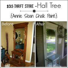 Hall Tree For Porch Before-After - artsychicksrule.com #halltree #chalkpaint #duckeggblue