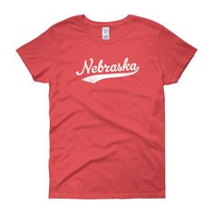 Vintage Nebraska NE Women's T-Shirt with Script Tail Design - JimShorts