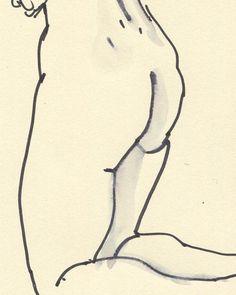 Line drawing woman nude ORIGINAL nude drawing black lines