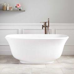 Bathroom Marble Accent Walls Behind Freestanding Tub