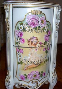 Elegant French Nightstand Table Lady