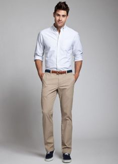 Khaki Pants And A White Button-Up Shirt Are An Iconic Menswear Combination