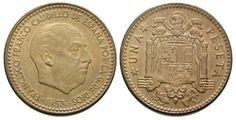 1 peseta de FrancoEl segundo tipo de peseta, presenta el busto de Franco en el anverso.