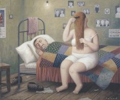 Vladimir Lubarov, paintings - paintings and prints for sale of artist Vladimir Lubarov in Gallery of ArtRussia Sketch Painting, Drawing Sketches, Fat Art, Naive Art, Russian Art, Couple Art, Pictures Images, Prints For Sale, Her Hair