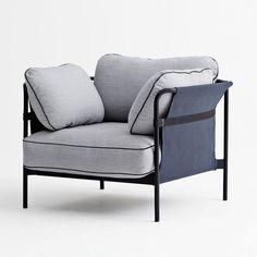 - Can - Fauteuil - clair gris/étoffe Surface 120/97x82x92.5cm/support noir/back and side element Canvas blue