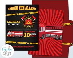 Fire Engine Party Invitation