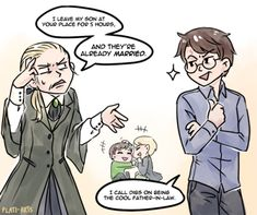 How would draco and harry react when they find out that the Baby Boys are in love? Harry and Draco in the original toddler!Albus&Scorpius headcanon by just how I'd expect them. Harry Y Ginny, Arte Do Harry Potter, Harry Potter Comics, Harry Draco, Harry Potter Puns, Harry Potter Artwork, Harry Potter Ships, Harry Potter Anime, Harry Potter Universal