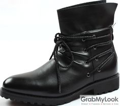 GrabMyLook Mens Leather Punk Rock Lace Up Ankle Thick Sole Military Style Men Boots Shoes