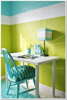 Turquoise & Lime Teen Room with Mirrored Letter. Cute monogram idea!