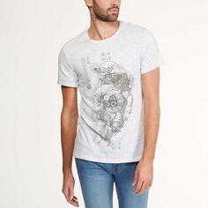 Tee-shirt col rond jersey flammé imprimé Homme - Kiabi - 5,00€