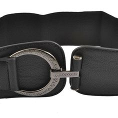 >> Click to Buy << HOT Woman Hook Buckle Faux Leather Elastic 6cm Wide Band Belt Black #Affiliate