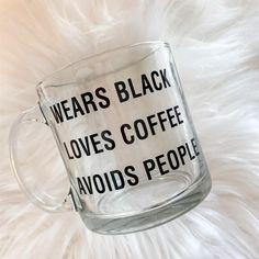 Wears Black Loves Coffee Avoids People Glass 13 ounce Mug Loves Tea Glass Coffee Mugs, Coffee Cups, Tea Cups, Coffee Snobs, Coffee Coffee, Amazon Box, Avoid People, Coffee Is Life, Coffee Humor