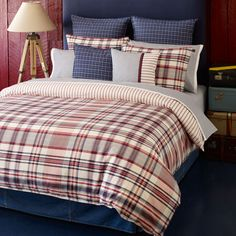 Full/Queen Duvet Set (Tommy Hilfiger Hilfiger Vintage Plaid) Blue