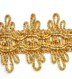 Metallisiertes Zierband 36 mm x1 m (1,0 €/m) Gold Lurex  Schmuckband  Lurexband