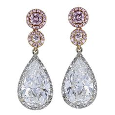 6.14 Carats Pear Shape and Round Pink Diamonds Gold Platinum Drop Earrings | From a unique collection of vintage drop earrings at https://www.1stdibs.com/jewelry/earrings/drop-earrings/