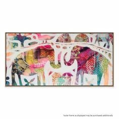 """A chic abstract artwork, """"Helga and Family"""" will add a touch of color to any living space."""