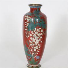 "Japanese Cloisonné Red Ginbari Enamel Vase with Cloisonne wisteria flower/foliage design. H 10"" x W 4"""