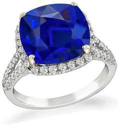 Cushion Cut Sapphire Round Cut Diamond 18k White Gold Engagement Ring