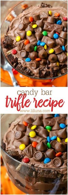 Candy Bar Trifle, Desserts, Delicious Candy Bar Trifle layered with brownie chunks, chocolate cream and candy. A great dessert to use with all that leftover Halloween candy! Mini Desserts, Layered Desserts, Trifle Desserts, Oreo Dessert, Great Desserts, Chocolate Desserts, Dessert Recipes, Brownie Trifle, Chocolate Candy Cake