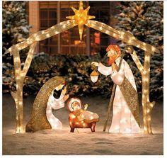 Outdoor Nativity Scene Lighted Large Pre Lit Outside Holy family Yard Decor Set #Vonmart911