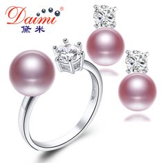 Daimi 자연 퍼플 핑크 화이트 블랙 진주 귀걸이 반지 세트, 새로운 패션 보석 천연 진주 세트, 파티 보석 세트