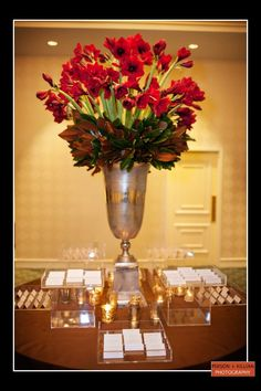 red reception wedding flowers, wedding decor, red wedding flower ...