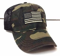 New AMERICAN FLAG CURVED-BILL TRUCKER HAT Green&Brown Camouflage/Camo Men/Women
