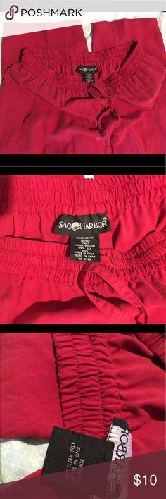 Sag Harbor Silk Pants Beautiful red sag harbor silk pants with side pockets and drawstring Sag Harbor Pants