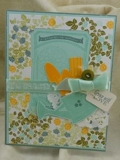 Hello-Thinking of You-Aqua-Golden Yellow-Teal-Floral-Gardening -Card with Matching Envelope on Etsy, $3.50