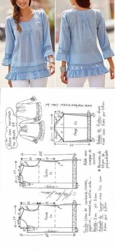 Sewing Dresses Blouse pattern - Blusa com nervuras e manga com babados Dress Sewing Patterns, Blouse Patterns, Sewing Patterns Free, Clothing Patterns, Sewing Clothes, Diy Clothes, Plus Size Sewing, Make Your Own Clothes, Fashion Sewing
