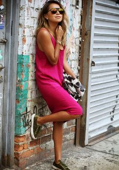 Pink dress and sneakers // Jules