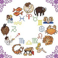 Zodiac Circle Cross Stitch [zodiac astrology witch wicca]