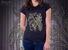 Women's flower T-shirt – Floral ornament T-shirt for women. Find more original and unique designs at: https://www.etsy.com/shop/ArtCraftGiftHouse?ref=seller-platform-mcnav Themes: Ornament ornamental, Pattern graphical, Mens womens, Lovers gift idea, Pencil drawing art, Abstract graphics, Plant herb, Artwork art print, graphic summer, florist fauna, leaf grey sketch