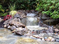 Sublime pondless waterfall accented with driftwood for Build your own waterfall pond