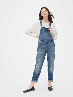 Gap Distressed Lived-In Denim Overalls Medium Indigo Indigo Colour, Denim Overalls, Shorts, Over 50 Womens Fashion, Gap Women, Baby Kids Clothes, Maxis, Straight Leg Pants, Long Sweaters