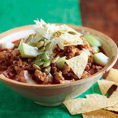 Warm up to fall with this Chipotle Turkey Chili with Apples and Cheddar | http://www.rachaelraymag.com/Recipes/rachael-ray-magazine-recipe-search/rachael-ray-30-minute-meals/chipotle-turkey-chili-with-apples-and-cheddar