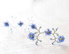 824_Flower hair pins, Pins for bride, Forget-me-not hair accessories, Blue…