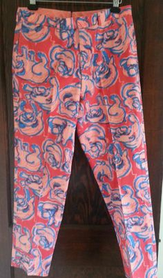 Vintage Lilly Pulitzer Palm Beach pink and blue pants BULLDOGS 36 x 31 for men