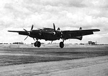 P-61B Black Widow from the 547th Night Fighter Squadron landing on Lingayen airstrip,Luzon,P.I. on 17 May 1945.