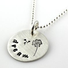 Dandelion Dream hand stamped sterling necklace by Punky Jane