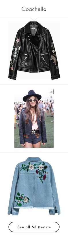"""""""Coachella"""" by polyandrea ❤ liked on Polyvore featuring outerwear, jackets, leather jackets, black, 100 leather jacket, tattoo jacket, genuine leather jackets, real leather jackets, intimates and bras"""