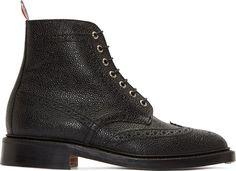 Thom Browne Black Pebbled Wingtip Boots