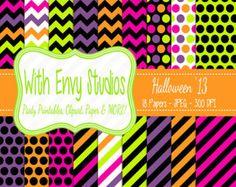 SALE 50% OFF Halloween Digital Scrapbook Paper Pack - Halloween Scrapbook Paper Set - Commercial Use