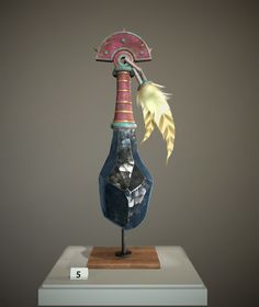 ArtStation - Aztec style Obsidian club - Museum display, Stephen Honegger