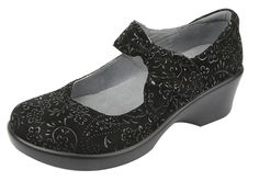 738f9606a05dd Alegria Women's Ella 2 Black Sprigs Wedge 38 (US Women's Regular. Heel  measures approximately Platform measures approximately